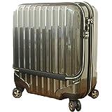 スーツケース 機内持込 MAX 40l 軽量 小型 wファスナー 8輪 s 【W-Receipt】 ss キャリーケース キャリーバッグ ポケット (ブラック)