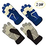 All-Season Leather Gardening Gloves - PROMEDIX - Garden Gloves With Pig Split Leather, Suitable For Thorny Rose Pruning and Yard Work, 2 Pair (L/9, Grey + Blue)