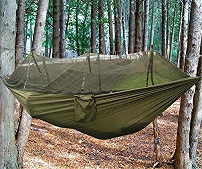 EIALA Camping Hammock, Mosquito Net Outdoor Hammock Travel Bed Lightweight Parachute Fabric Double Hammock For Indoor, Camping, Hiking, Backpacking, Backyard from Eiala