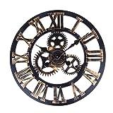Vintage Clock, Soledi European Retro Vintage Handmade 3D Decorative Gear Wooden Vintage Wall Clock (Copper Color)