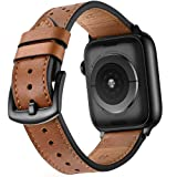 Mifa Leather Band Compatible with Apple Watch 4 44mm 42mm iwatch Series 1 2 3 Nike Sports Replacement Strap Bands Dressy Classic Buckle Vintage case Black Stainless Steel Adapters (44mm/42mm, Brown) (Color: Brown, Tamaño: 42mm / 44mm)