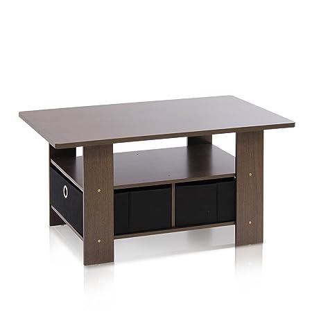 Furinno 11158EX/BR tavolino con bidoni Dark Brown/Black
