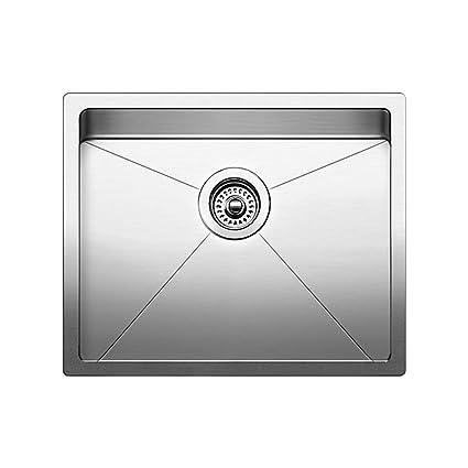 Blanco 519546 Quatrus R15 Under Mount Single Bowl Kitchen Sink, Small, Stainless Steel
