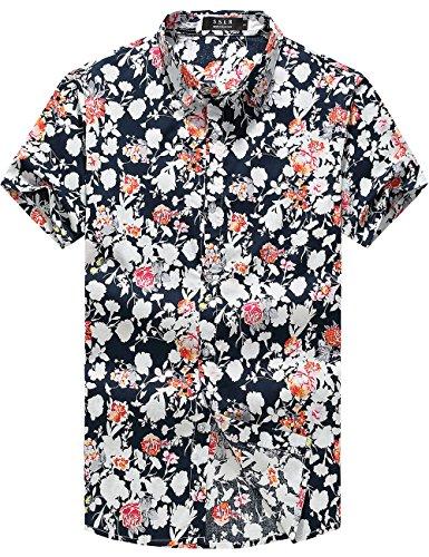 SSLR Herren Sommer Blumen- kurze Ärmel lässig Hemden (Large, Schwarz Rot)