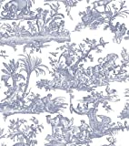 Amelia Toile De Jouy Wallpaper Dark Blue 262963