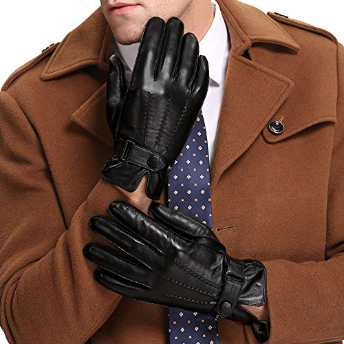 Baeska Winter Men's Leather Gloves Lambskin Drive/Work/Motorcycle Riding/Cycling Gift Gloves Black