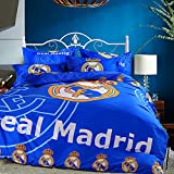 Sport do Fashion World Cup Designs 3D Version Bedding Sets for Football Fans,Chelsea/Juventus Club/Manchester United/Liverpool/Real Madrid Duvet Cover and Flat Sheet,3Pc,Twin