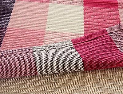 MeMoreCool Simple Modern Cotton Multi-Usage Handcraft Knitting Checked Carpet,Kitchen/Bedroom/Washroom/Bathroom Absorbent Doormat,24X35inch