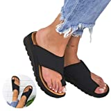 2019 New Women Comfy Platform Sandal Shoes - Summer Beach Travel Shoes for Women, Big Toe Straightener Open Toe Summer Shoes, PU Leather (US 9(40),black) (Color: black, Tamaño: US 9(40))