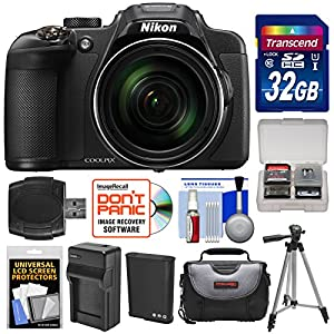 Nikon Coolpix P610 Wi-Fi Digital Camera (Black) with 32GB Card + Battery & Charger + Case + Tripod Kit (Certified Refurbished)