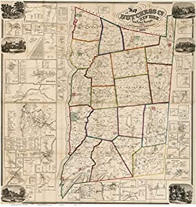 Dutchess County New York 1858- Wall Map Reprint with Homeowner Names