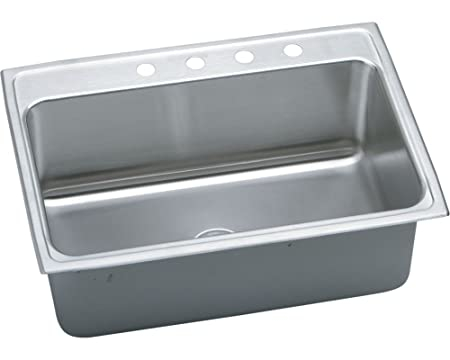 "Elkay DLRQ252212X 18 Gauge Stainless Steel 25"" x 22"" x 12.125"" Single-Bowl Top Mount Kitchen Sink"