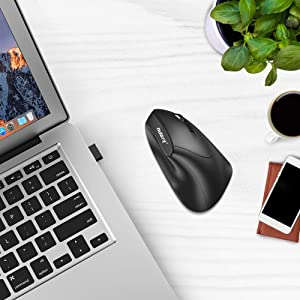 Nulaxy Ergonomic Mouse, 2.4G Optical Wireless Vertical Mouse with 6 Buttons - 3 Adjustable DPI 800/1200/1600 for Laptop, PC, Desktop - Black (Color: Black, Tamaño: A-Vertical)