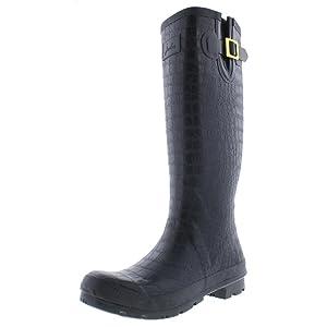 Joules Women's Crockington Rain Boot, Black, 8 M US