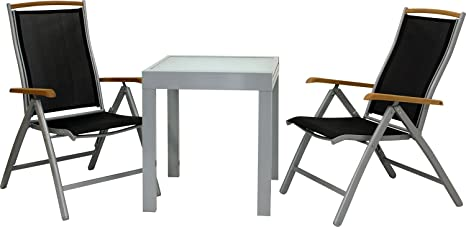 IB-Style - DIPLOMAT-Quadro S Gartengarnitur | 5 Kombinationen 2 Farben - mit 2 Klappstuhlen und Fußbank | Alu SILBERMATT + TEAKHOLZ + Textilen SCHWARZ | Ausziehtisch mit Sicherheitsglas 65 - 130 cm | Gartenmöbel Hochlehner Tisch | 4-teilig