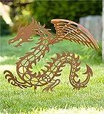Rusted Metal Dragon Garden Stake