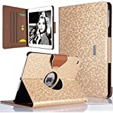 ULAK iPad Air Case - 360 Degrees Rotating Stand Case Bling Honeycomb Cover with Auto Sleep/ Wake Feature for iPad Air / iPad 5 (5th Generation) (Gold)