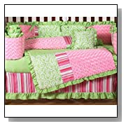 Funky Pink and Lime Green Olivia Boutique Baby Girl Bedding