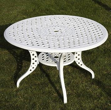 Weißes Lily 120cm Rundes Gartenmöbelset Aluminium - 1 Weißer LILY Tisch + 4 Weiße ROSE Stuhle