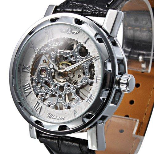 LightInTheBox Top Selling Discount High Quality Men's Semi-Mechanical Skeleton Hollow Engraving Black PU Band Analog Wrist Watch Dress Fashion Watches for Men -Black