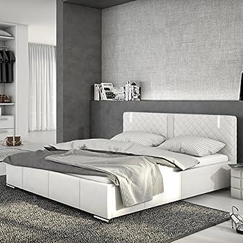 Innocent cama acolchada de cuero sintético blanco 180 x 200 cm con LED y altavoz Effra con somier