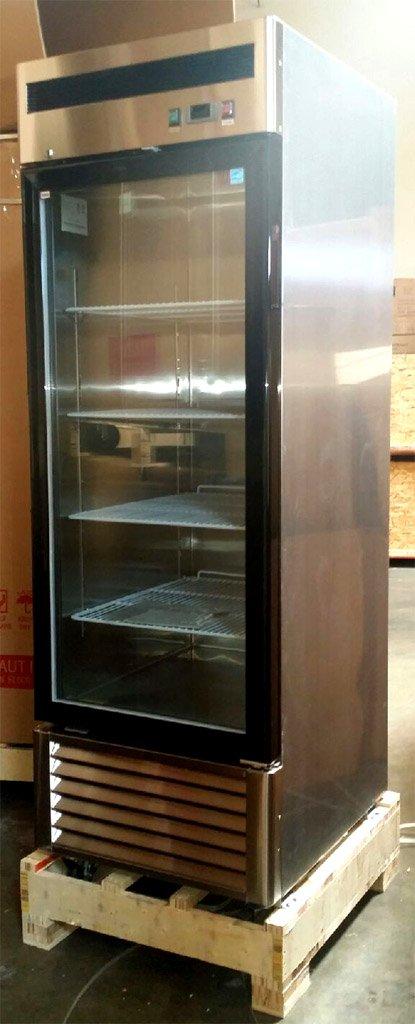 1 Door Upright Stainless Steel Glass Window Freezer Merchandiser Display Case, 21 Cubic Feet, Commercial Grade