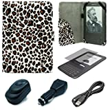 Leopard Pattern Design Protective Portfolio Nylon Carrying Case Cover for Amazon Kindle 3rd Generation Wireless Reading Device 3G Wi-Fi 6 inch LCD Display + Clear Screen Protector Guard for Kindle 3 Wifi + USB Travel Home Charger + USB Car Charger + Micro USB Data Cable Cord + SumacLife TM Wisdom Courage Wristband