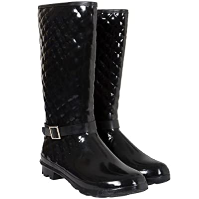 Funky Festival Wellies Wellington Boots Black Quilted