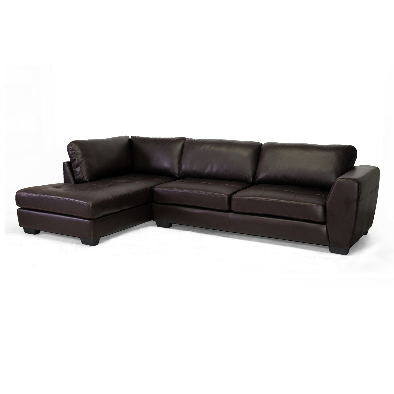 Baxton Studio Orland Leather Modern Sectional Sofa Set with Left Facing Chaise - Brown