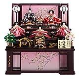 久月作 皇雅雛 五人飾り ワイン塗り桐製収納三段セット【雛人形/ひな人形】【2135】