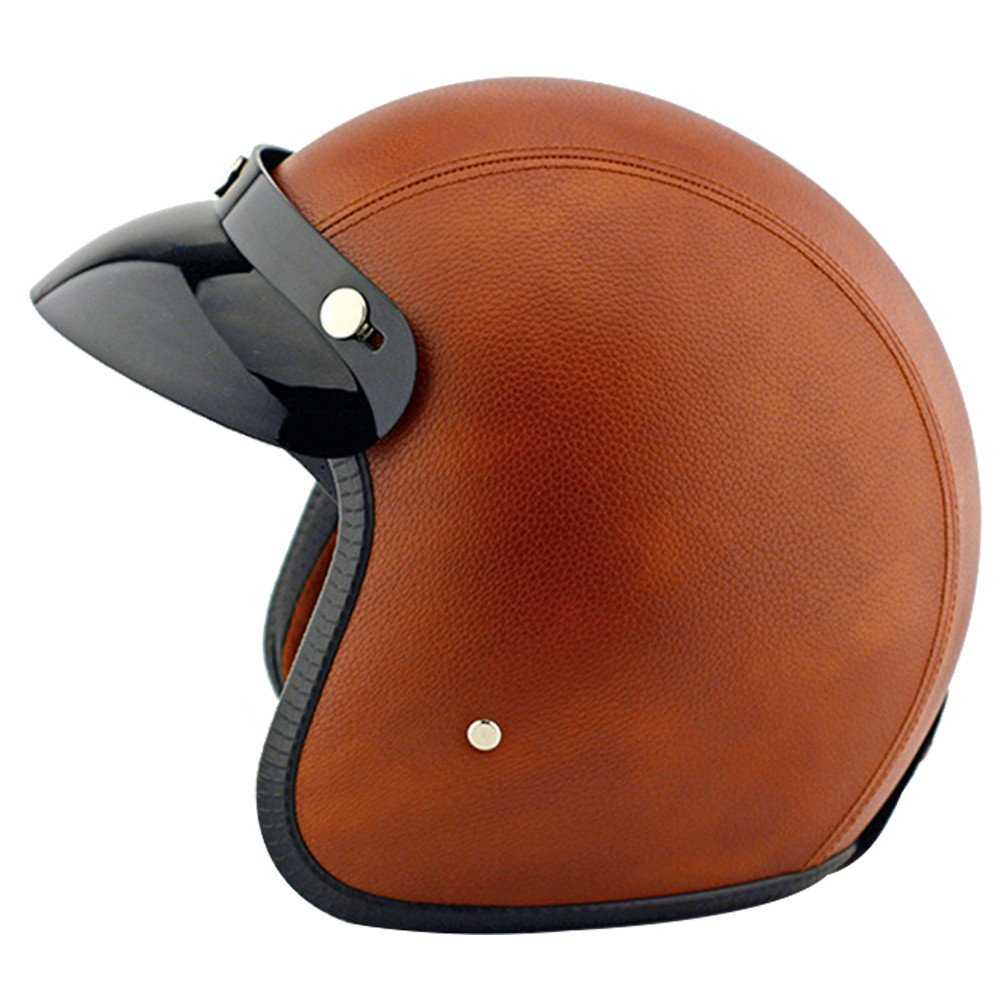 Tpfocus fashion 3 4 open face motorcycle leather vintage for Best helmet for motor scooter