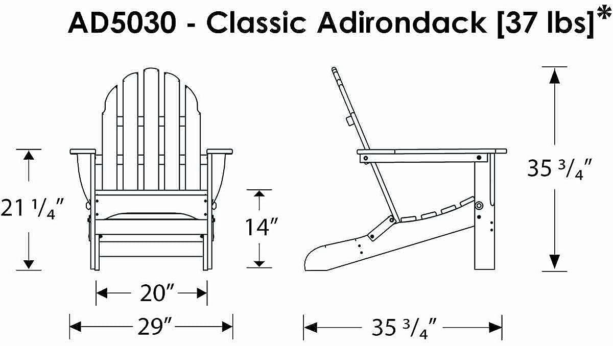 POLYWOOD AD5030BL Classic Folding Adirondack, Black