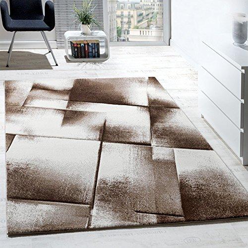 Tappeto Di Design A Quadri Soggiorno Colori Marrone Crema Beige, Grösse:120x170 cm
