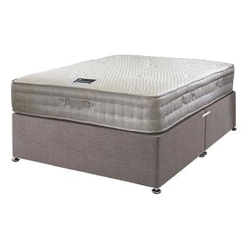 Happy Beds Matelas en mousse viscoélastique à ressorts ensachés 2000en bambou avec tiroir en tissu/Plusieurs Options/sans tête de lit, Slate Grey, Simple (90 x 190 cm)