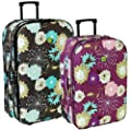 Karabar Flower Super Lightweight Expandable Suitcases - 3 Years Warranty!