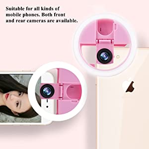 LUPAPA Selfie Ring Light with Phone Camera Lens, Macro & 0.65Ã? Wide Angle Lens, 36 LED Fill Light [3-Level Brightness] [USB Rechargeable] [Live Strea
