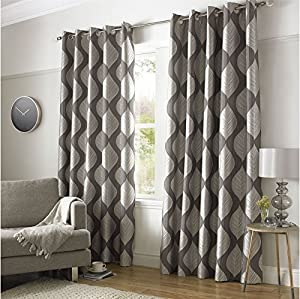 """Botanical Leaves Charcoal Silver Grey Lined 66"""" X 90"""" - 168cm X 229cm Ring Top Curtains by Curtains"""
