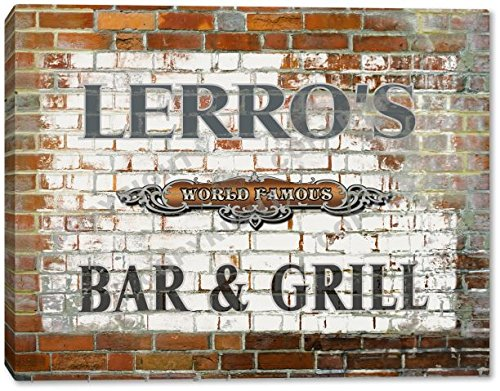 LERRO'S World Famous Bar & Grill Brick Wall Stretched Canvas Print loz mini diamond block world famous architecture financial center swfc shangha china city nanoblock model brick educational toys