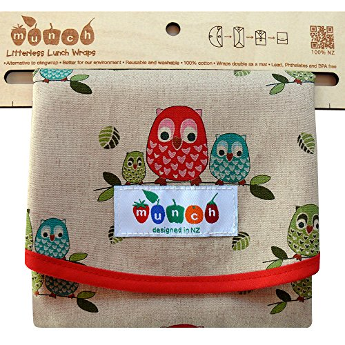 Owl Print Reusable Sandwich Wrap. BPA and Phthalate Free. Comes with Free E-book with 10 Lunch Box Ideas to Make Picnics an Lunches Fun, Easy and Sustainable. Converts to Easy-clean Placemat.