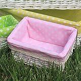 M.E.S Rectangular Hand Woven Wicker Basket Organizer Storage Bag with Liner, Pink, L
