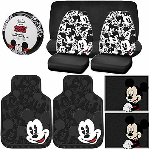 9PC Mickey Mouse Expressions Rubber Floor Mats Seat Covers Bench Steering Cover