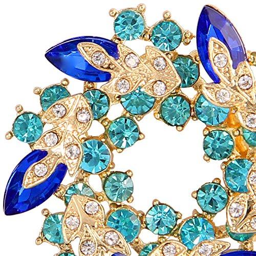 Valdler Women 's Brooch Pin With Fashion Jewelry Fancy Vintage Rhinestone Bling Crystal Bauhinia Flower 3