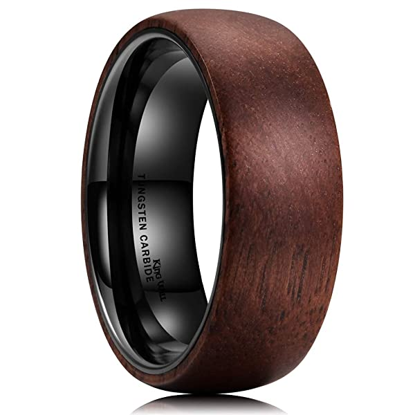 JAJAFOOK Mens Wedding Band 8mm Black Tungsten Ring Wood Inlay Pattern Dome Comfort Fit