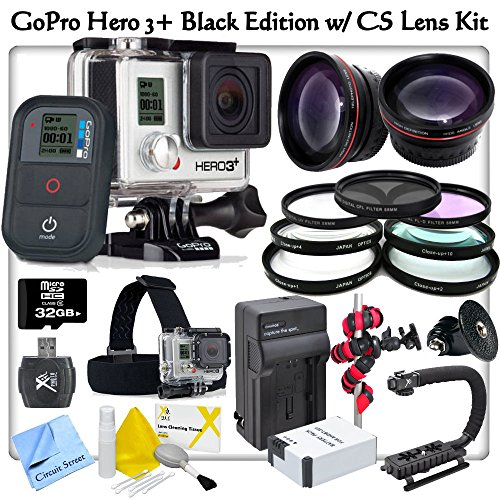 Gopro Hero3+: Black Edition With Cs Lens Adjuster Kit: Includes Gopro Ghds30 Head Strap Mount, High Definition Wide Angle Lens, Telephoto Hd Lens, 3 Piece Filter Kit, 4 Piece Macro Close-Up Set, Stabilizing Handle/Grip, High Capacity (1600 Mah) Ahdbt301 R