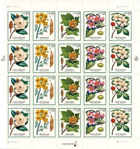 flowering-trees-full-pane-of-twenty-32-cent-stamps-scott-3193-97