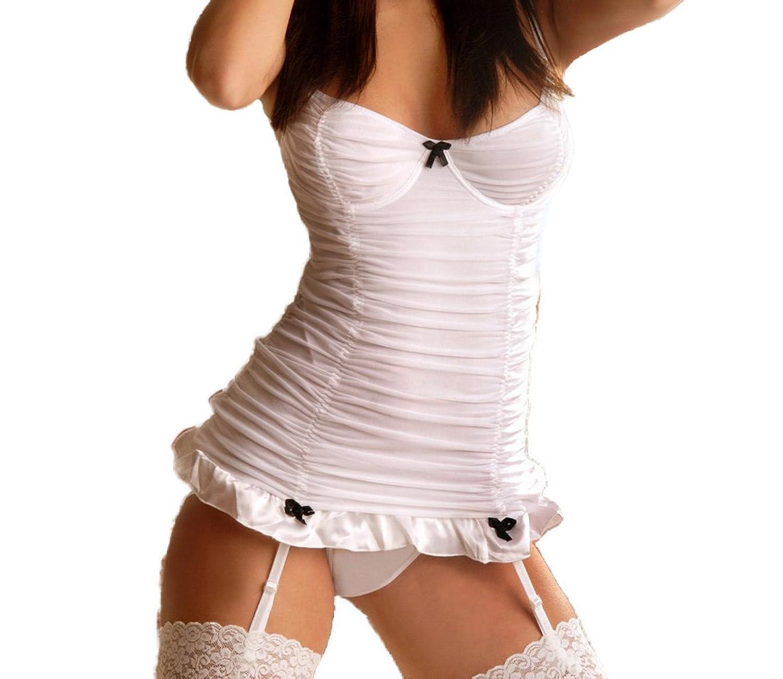 Negligee in weiß aus Tüll und Satin mit Bügelcups und String Damen Dessous Strapshemd jetzt bestellen