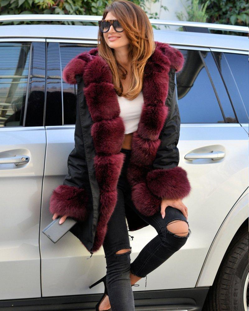 Roiii Vintage Women Military Faux Fur Hooded Winter Warm Coat Ladies Jacket Size 8-18 3