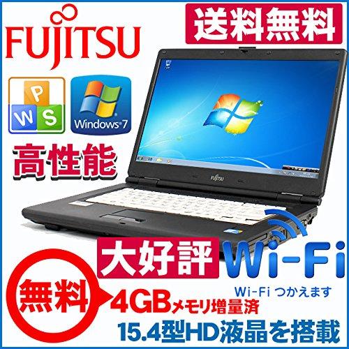 【Office2013搭載】ノートパソコン 富士通製 FMV-A8280 Windows7HP済 人気15.4インチワイド Core2Duo/2.53G 標準2GB HDD80GB DVD搭載 無線LAN搭載 正規中古再生MARインストール済 DtoD領域有り 正規ESETセキュリティ1年版+《できるWindows7》入門書+新品無線LANアダプタ
