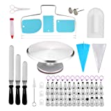 SWOMMOLY 133 Pcs Cake Decorating Supplies Kit, Aluminum Alloy Revolving Cake Stand, 52 Numbered Icing Tips, 50 Ultra-thick Pastry Bags and More.