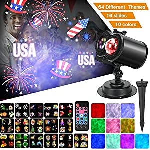 Ocean Wave Christmas Projector Lights, Remote Control 2-in-1 Moving Patterns W/Water Wave LED Landscape Holiday Night Lights Waterproof Outdoor Indoor Xmas Party Yard Garden Decorations, 16 Slides (Color: Christmas Projecor)